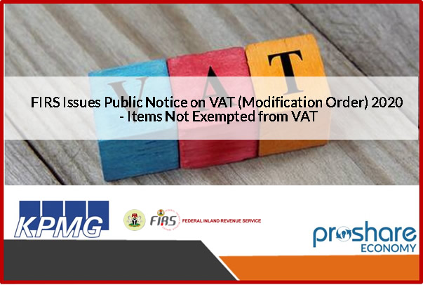 FIRS Issues Public Notice on VAT (Modification Order) 2020
